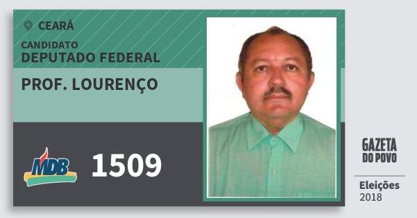 Santinho Prof. Lourenço 1509 (MDB) Deputado Federal | Ceará | Eleições 2018