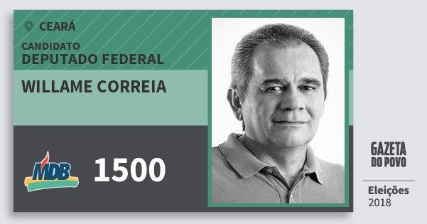 Santinho Willame Correia 1500 (MDB) Deputado Federal | Ceará | Eleições 2018