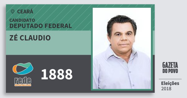 Santinho Zé Claudio 1888 (REDE) Deputado Federal | Ceará | Eleições 2018