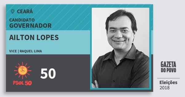 Santinho Ailton Lopes 50 (PSOL) Governador   Ceará   Eleições 2018