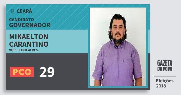 Santinho Mikaelton Carantino 29 (PCO) Governador | Ceará | Eleições 2018