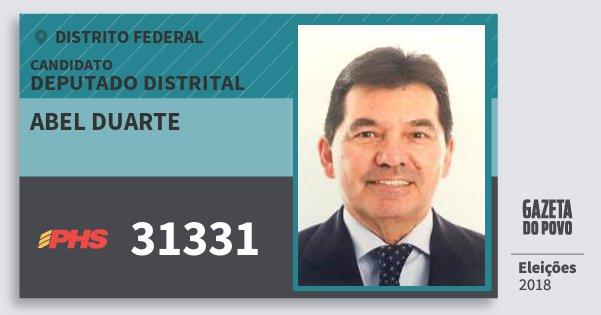 Santinho Abel Duarte 31331 (PHS) Deputado Distrital | Distrito Federal | Eleições 2018