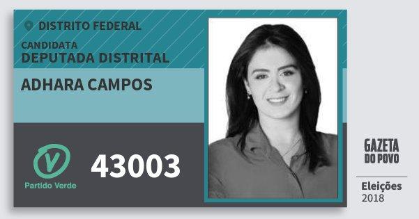 Santinho Adhara Campos 43003 (PV) Deputada Distrital   Distrito Federal   Eleições 2018