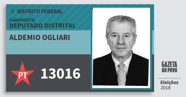Santinho Aldemio Ogliari 13016 (PT) Deputado Distrital | Distrito Federal | Eleições 2018