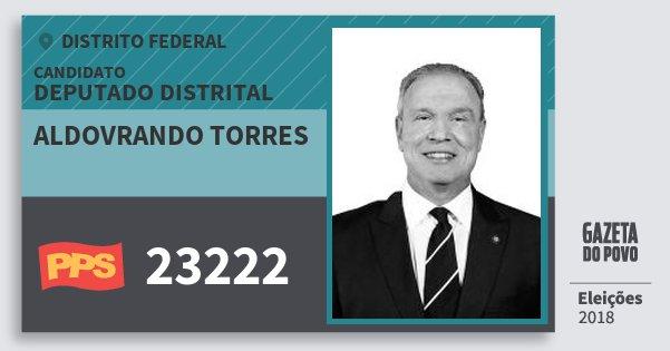 Santinho Aldovrando Torres 23222 (PPS) Deputado Distrital | Distrito Federal | Eleições 2018
