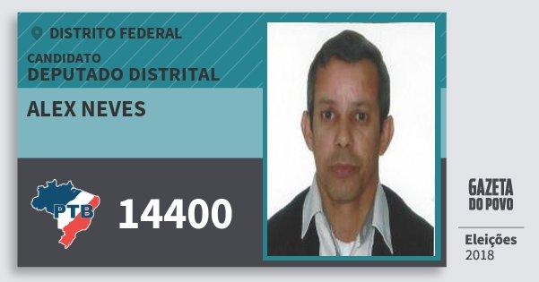 Santinho Alex Neves 14400 (PTB) Deputado Distrital | Distrito Federal | Eleições 2018
