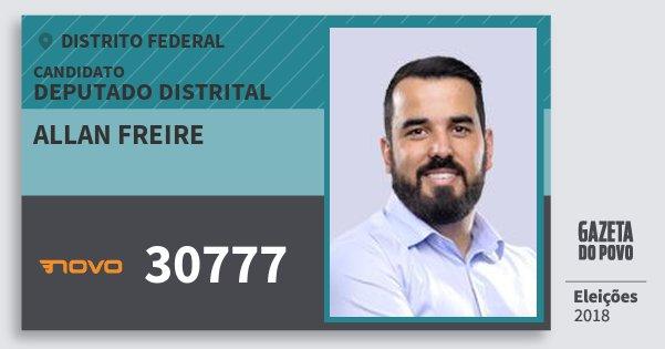 Santinho Allan Freire 30777 (NOVO) Deputado Distrital | Distrito Federal | Eleições 2018
