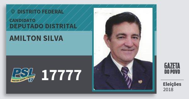 Santinho Amilton Silva 17777 (PSL) Deputado Distrital   Distrito Federal   Eleições 2018