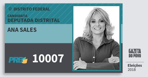 Santinho Ana Sales 10007 (PRB) Deputada Distrital | Distrito Federal | Eleições 2018