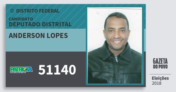 Santinho Anderson Lopes 51140 (PATRI) Deputado Distrital | Distrito Federal | Eleições 2018
