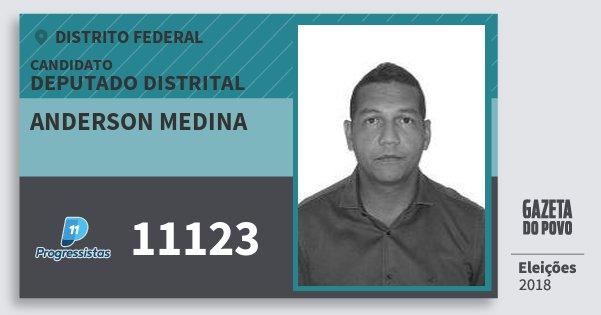 Santinho Anderson Medina 11123 (PP) Deputado Distrital | Distrito Federal | Eleições 2018