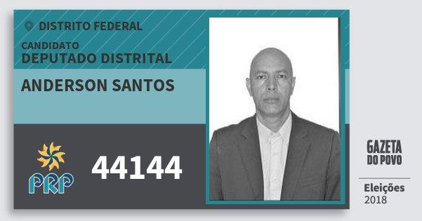 Santinho Anderson Santos 44144 (PRP) Deputado Distrital | Distrito Federal | Eleições 2018