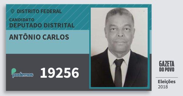 Santinho Antônio Carlos 19256 (PODE) Deputado Distrital | Distrito Federal | Eleições 2018