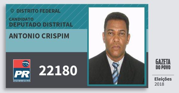 Santinho Antonio Crispim 22180 (PR) Deputado Distrital | Distrito Federal | Eleições 2018