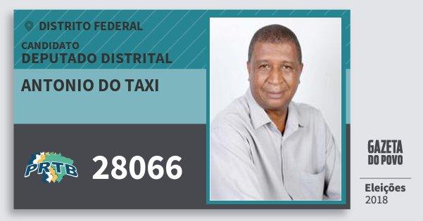 Santinho Antonio do Taxi 28066 (PRTB) Deputado Distrital | Distrito Federal | Eleições 2018
