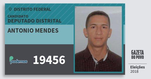 Santinho Antonio Mendes 19456 (PODE) Deputado Distrital | Distrito Federal | Eleições 2018