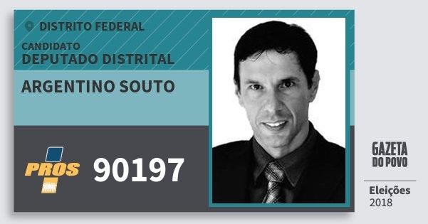 Santinho Argentino Souto 90197 (PROS) Deputado Distrital | Distrito Federal | Eleições 2018