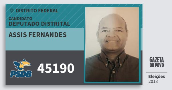 Santinho Assis Fernandes 45190 (PSDB) Deputado Distrital | Distrito Federal | Eleições 2018