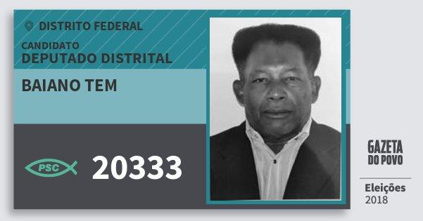 Santinho Baiano Tem 20333 (PSC) Deputado Distrital   Distrito Federal   Eleições 2018