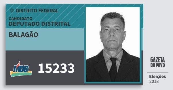 Santinho Balagão 15233 (MDB) Deputado Distrital | Distrito Federal | Eleições 2018