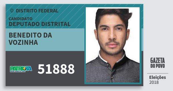 Santinho Benedito da Vozinha 51888 (PATRI) Deputado Distrital | Distrito Federal | Eleições 2018
