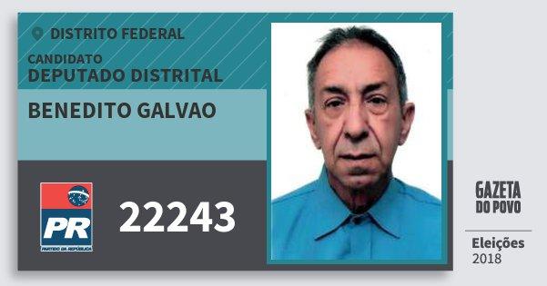 Santinho Benedito Galvao 22243 (PR) Deputado Distrital | Distrito Federal | Eleições 2018