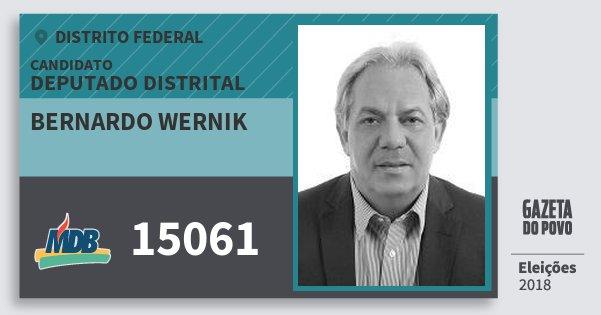 Santinho Bernardo Wernik 15061 (MDB) Deputado Distrital | Distrito Federal | Eleições 2018