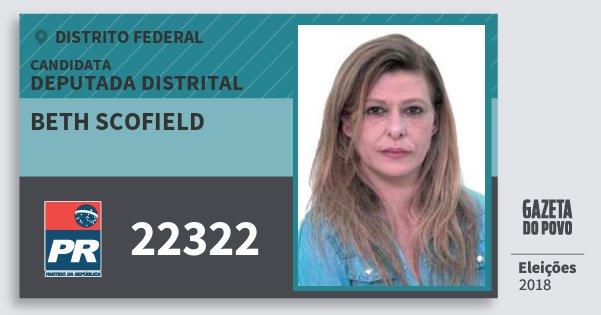 Santinho Beth Scofield 22322 (PR) Deputada Distrital | Distrito Federal | Eleições 2018