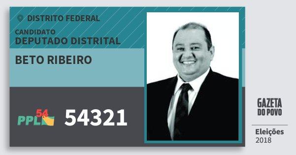 Santinho Beto Ribeiro 54321 (PPL) Deputado Distrital | Distrito Federal | Eleições 2018