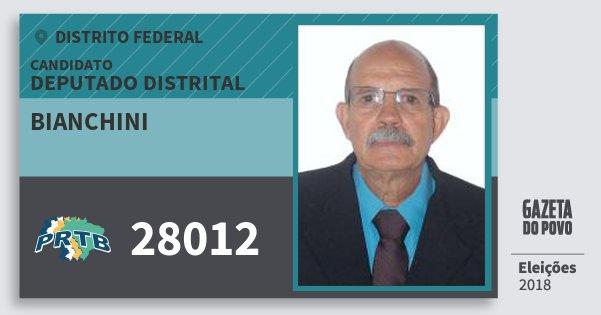 Santinho Bianchini 28012 (PRTB) Deputado Distrital | Distrito Federal | Eleições 2018