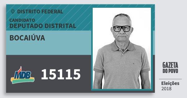 Santinho Bocaiúva 15115 (MDB) Deputado Distrital | Distrito Federal | Eleições 2018