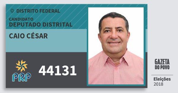 Santinho Caio César 44131 (PRP) Deputado Distrital | Distrito Federal | Eleições 2018