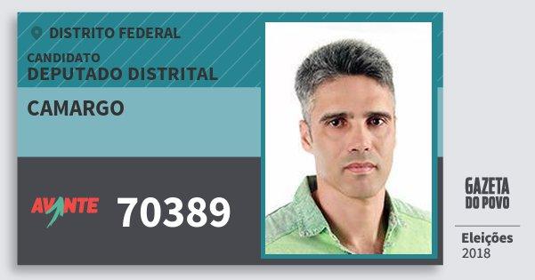Santinho Camargo 70389 (AVANTE) Deputado Distrital | Distrito Federal | Eleições 2018