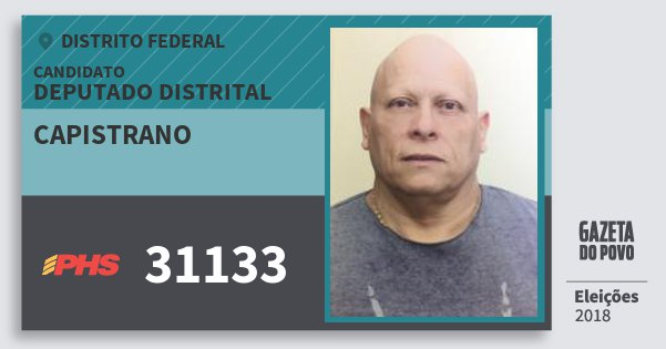 Santinho Capistrano 31133 (PHS) Deputado Distrital | Distrito Federal | Eleições 2018