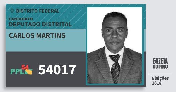 Santinho Carlos Martins 54017 (PPL) Deputado Distrital | Distrito Federal | Eleições 2018