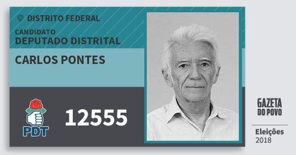 Santinho Carlos Pontes 12555 (PDT) Deputado Distrital | Distrito Federal | Eleições 2018