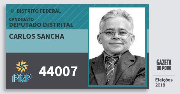Santinho Carlos Sancha 44007 (PRP) Deputado Distrital | Distrito Federal | Eleições 2018
