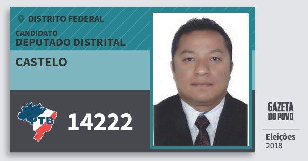 Santinho Castelo 14222 (PTB) Deputado Distrital | Distrito Federal | Eleições 2018