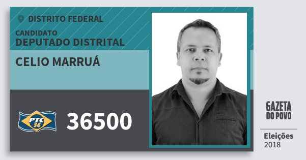 Santinho Celio Marruá 36500 (PTC) Deputado Distrital | Distrito Federal | Eleições 2018
