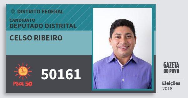 Santinho Celso Ribeiro 50161 (PSOL) Deputado Distrital | Distrito Federal | Eleições 2018