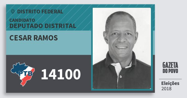 Santinho Cesar Ramos 14100 (PTB) Deputado Distrital | Distrito Federal | Eleições 2018