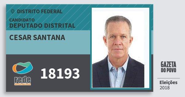 Santinho Cesar Santana 18193 (REDE) Deputado Distrital | Distrito Federal | Eleições 2018