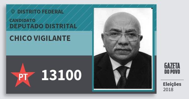 Santinho Chico Vigilante 13100 (PT) Deputado Distrital | Distrito Federal | Eleições 2018