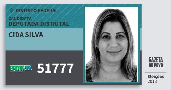 Santinho Cida Silva 51777 (PATRI) Deputada Distrital | Distrito Federal | Eleições 2018