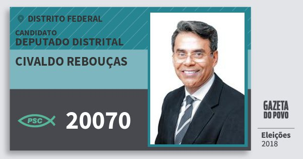 Santinho Civaldo Rebouças 20070 (PSC) Deputado Distrital | Distrito Federal | Eleições 2018