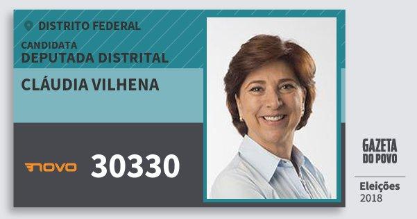 Santinho Cláudia Vilhena 30330 (NOVO) Deputada Distrital   Distrito Federal   Eleições 2018