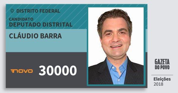Santinho Cláudio Barra 30000 (NOVO) Deputado Distrital | Distrito Federal | Eleições 2018