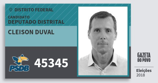 Santinho Cleison Duval 45345 (PSDB) Deputado Distrital | Distrito Federal | Eleições 2018