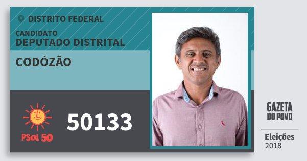 Santinho Codózão 50133 (PSOL) Deputado Distrital | Distrito Federal | Eleições 2018
