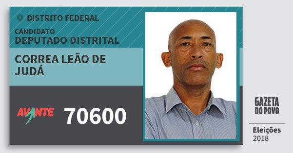 Santinho Correa Leão de Judá 70600 (AVANTE) Deputado Distrital | Distrito Federal | Eleições 2018